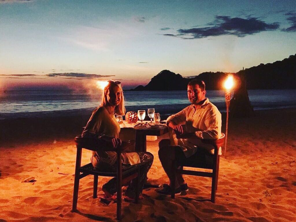 Romantic beach dinner at Morgans Rock in Nicaragua