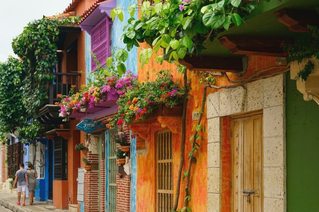 Colourful streets in Cartagena