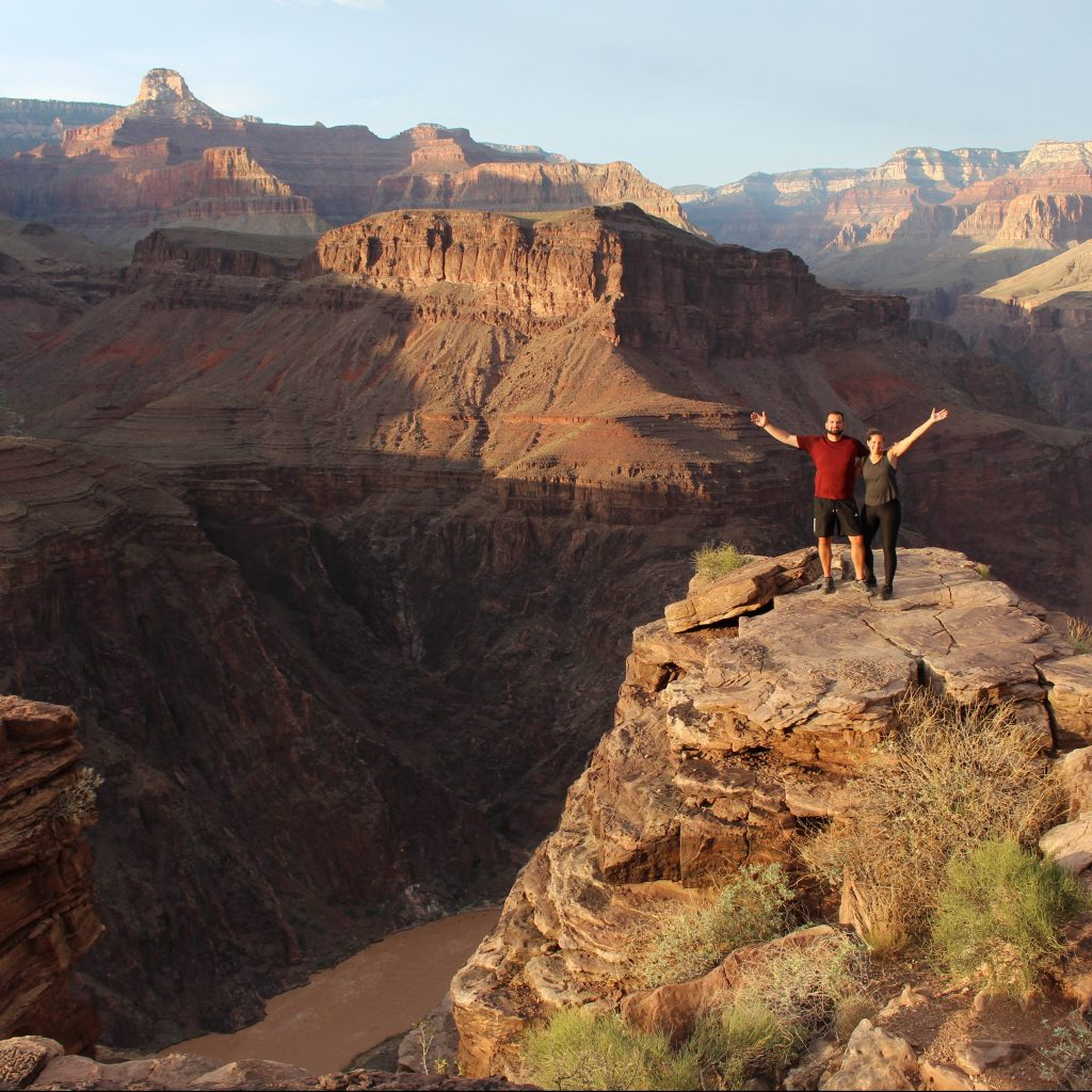 Ed and Amy hiking through the Grand Canyon on their honeymoon