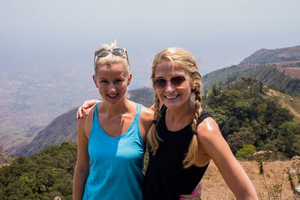 Lizzie and Harriet hiking on Zomba plateau in Malawi