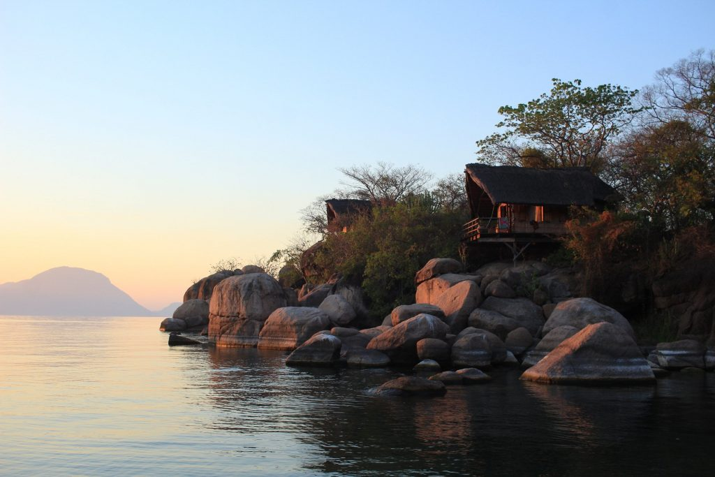 Sunset on Mumbo island in Malawi