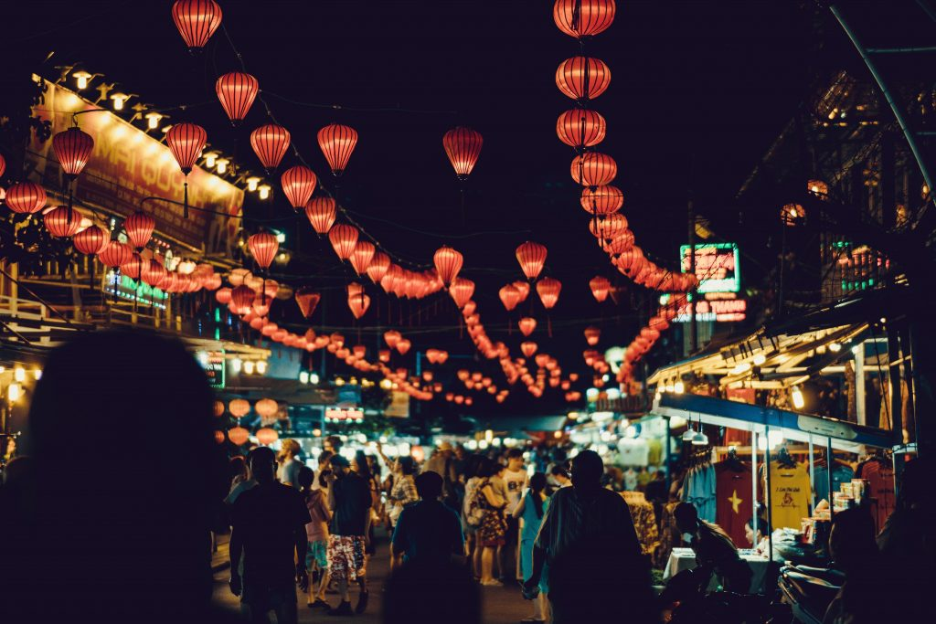 Glittering lanterns at the night markets in Phu Quoc, Vietnam