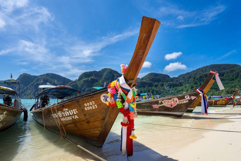 Thai longboats resting in Koh Phi Phi