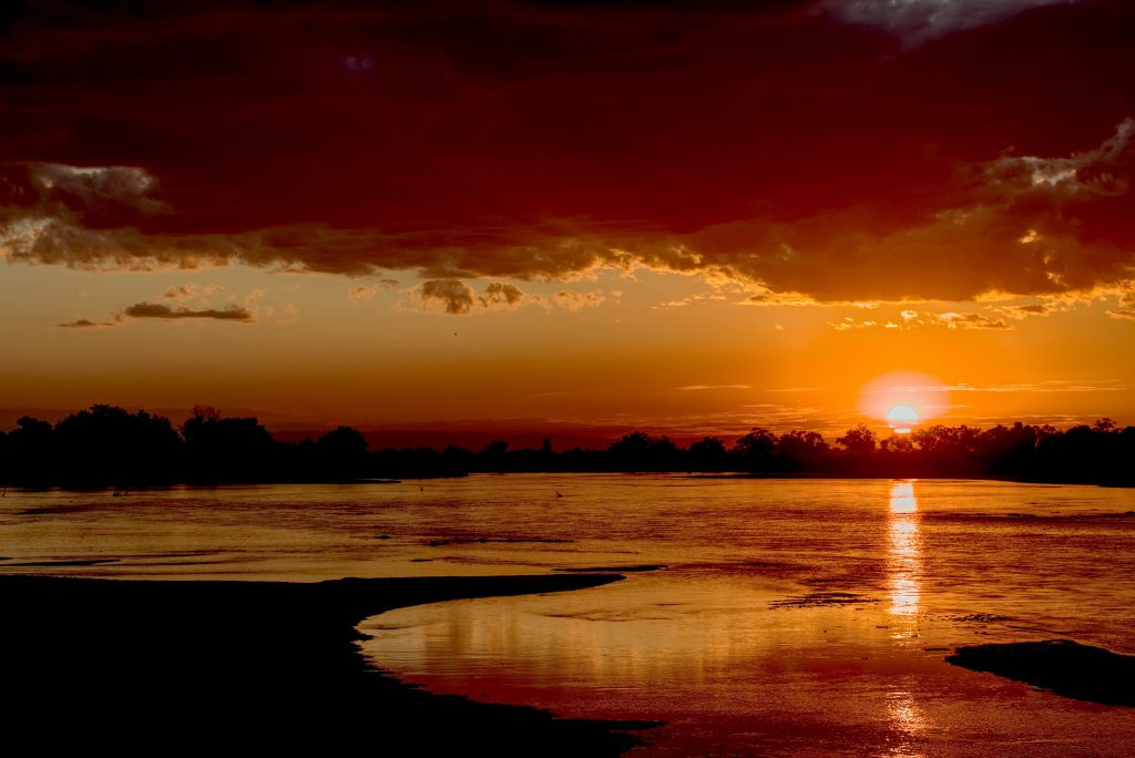 Stunning sunset in South Luangwa National Park in Zambia