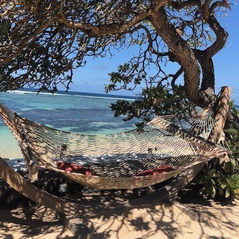 Relaxing on hammocks in Mauritius around Grand Gaube