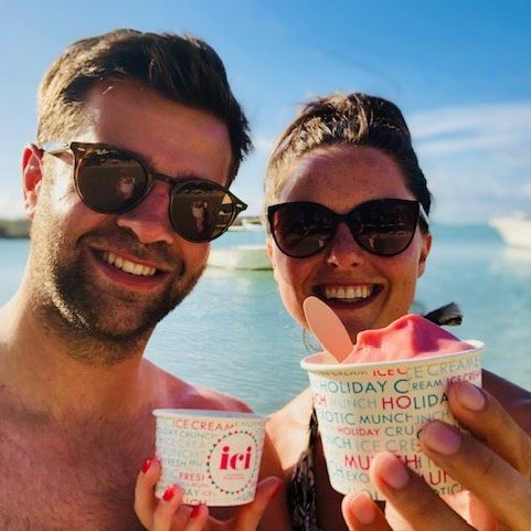 Enjoying ice cream and turquoise seas in Mauritius