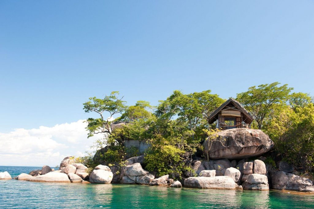 Cabins on Mumbo island in Malawi