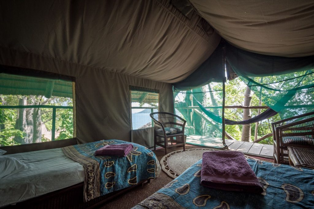 Safari tents on Domwe Island on Lake Malawi