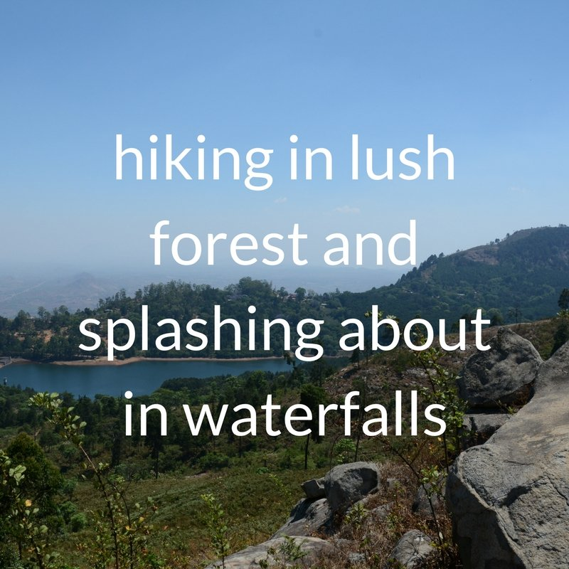 hiking in lush forest on Zomba plateau and splashing about in waterfalls