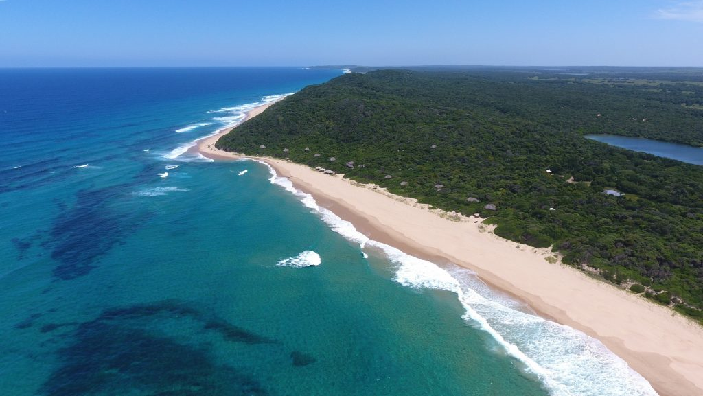 An aerial shot of Anvil Bay on the Indian Ocean within the Maputo Special Reserve, Mozambqiue